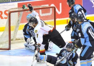Jarrod Maidens (7) scores the Game 7 winner of 2011 J. Ross Roberson Cup! Photocreds: http://lastwordonsports.com/